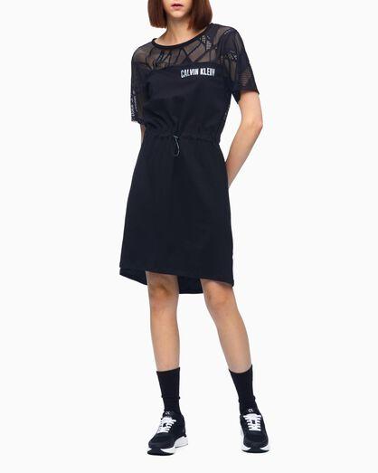 CALVIN KLEIN BACK V LACE SHORT SLEEVE DRESS