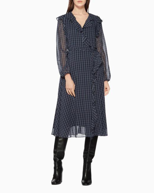 CALVIN KLEIN 러플 실크 랩오버 드레스
