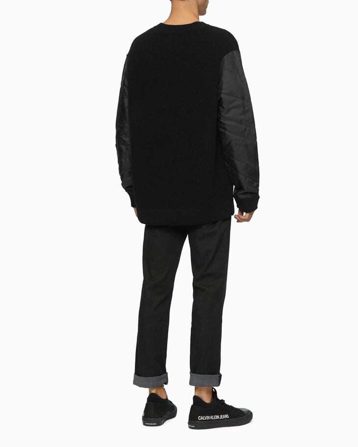 CALVIN KLEIN RIB KNIT SWEATER WITH QUILT SLEEVES