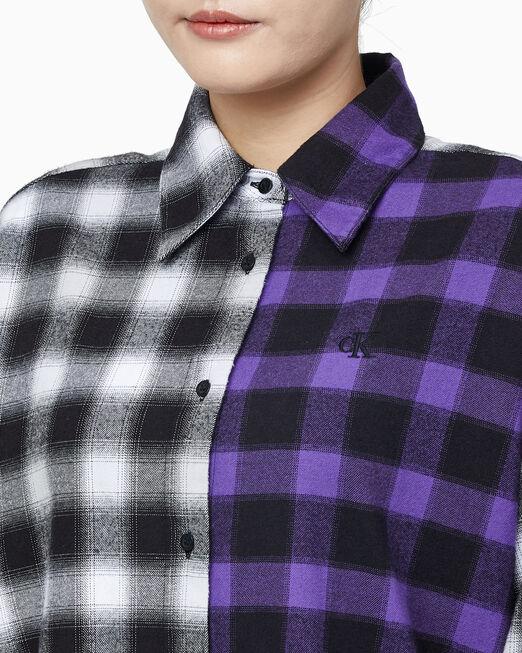 CALVIN KLEIN 여성 A 믹스 플레이드 블락킹 셔츠