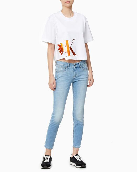 CALVIN KLEIN 여성 프리미엄 CK 크롭 티셔츠