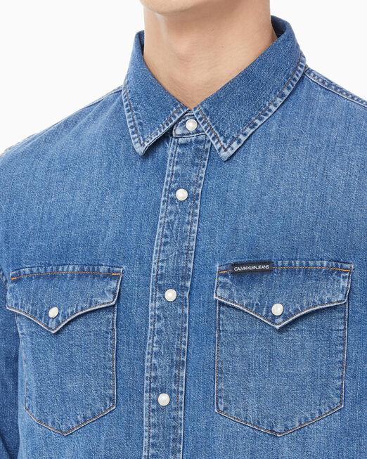 CALVIN KLEIN 남성 모던 웨스턴 셔츠