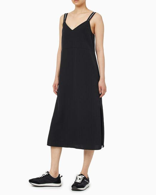 CALVIN KLEIN 여성 로고 테이프 맥시 슬립 드레스