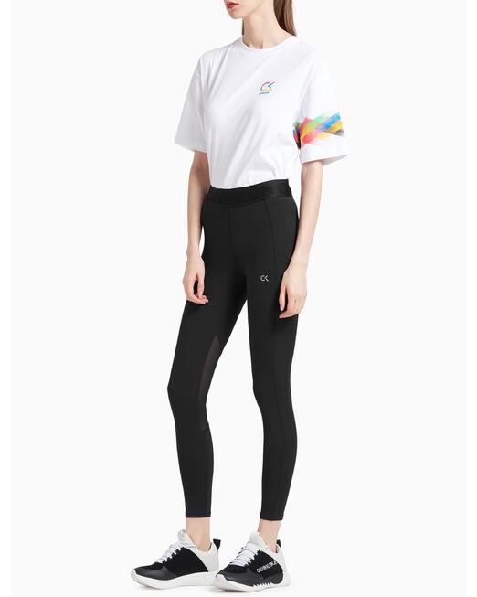 CALVIN KLEIN 여성 액티브 아이콘 웨이스트밴드 7/8 레깅스