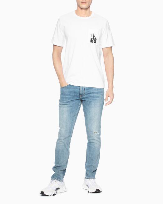 CALVIN KLEIN 남성 미러드 모노그램 로고 반팔티셔츠
