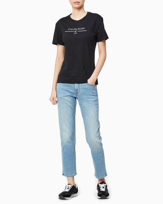 CALVIN KLEIN 여성 이리데슨트 모노그램 코어 슬림핏 반팔 티셔츠