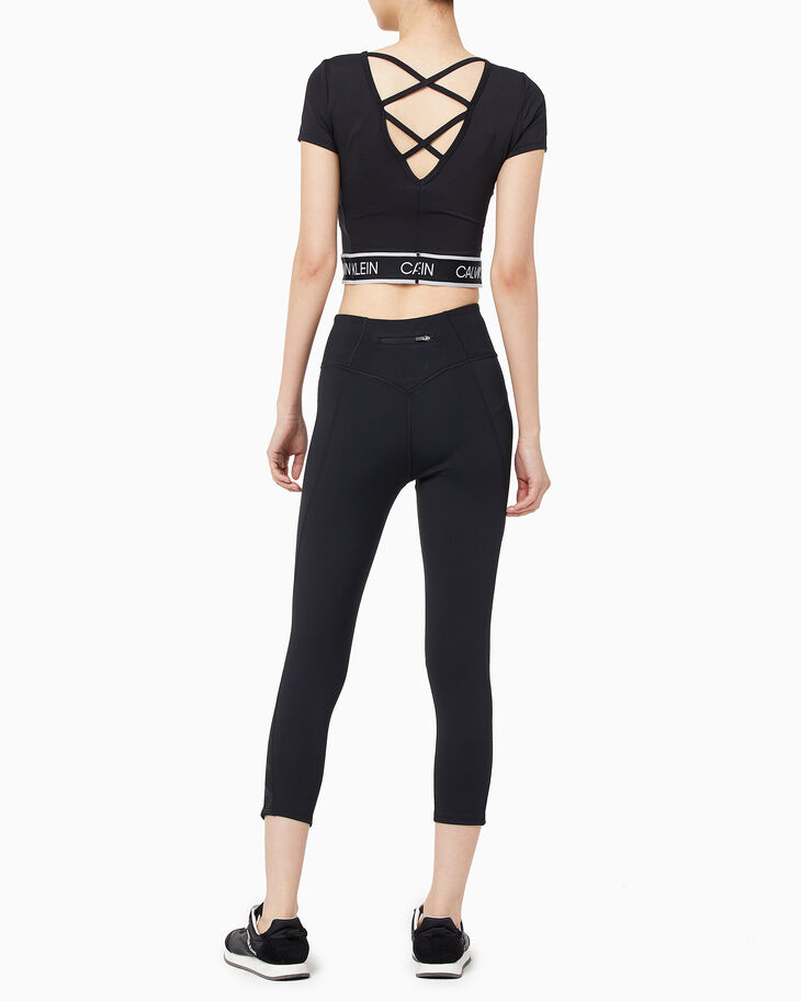 CALVIN KLEIN REFLECTION LACE LOGO CROPPED TIGHTS