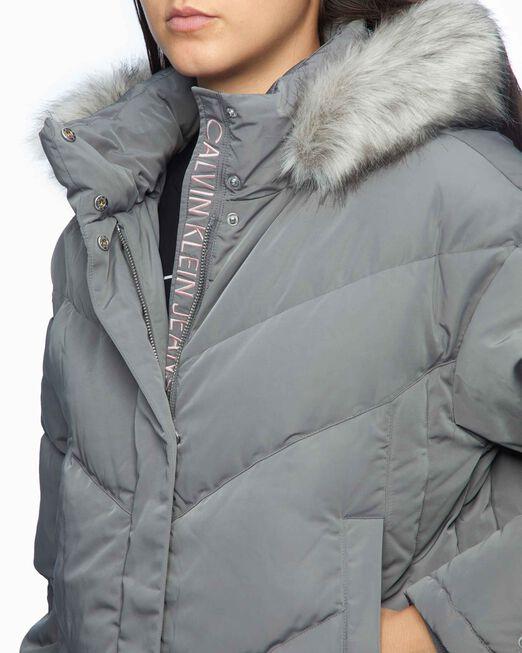 CALVIN KLEIN 여성 스모크드 펄 이리데슨트 다운 퍼프 자켓