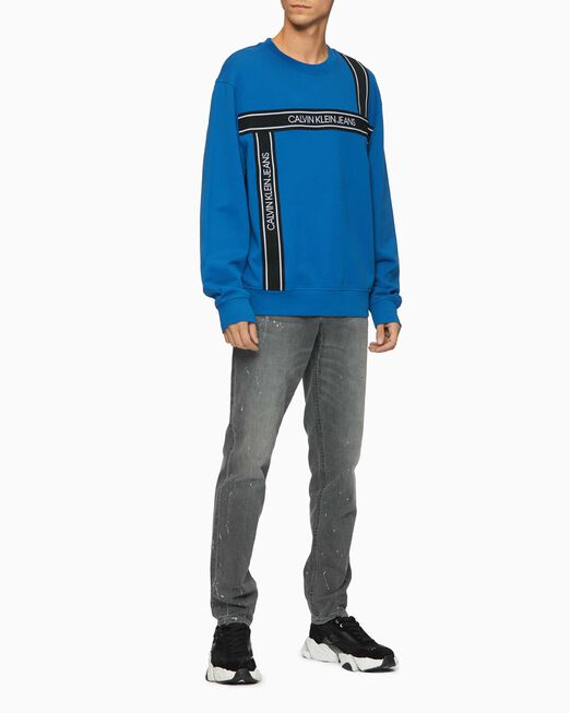 CALVIN KLEIN 남성 로고 테이프 크루넥 스웨트셔츠