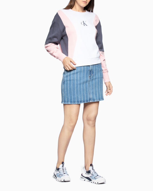 CALVIN KLEIN 여성 컬러 블록 크루넥 스웨트셔츠