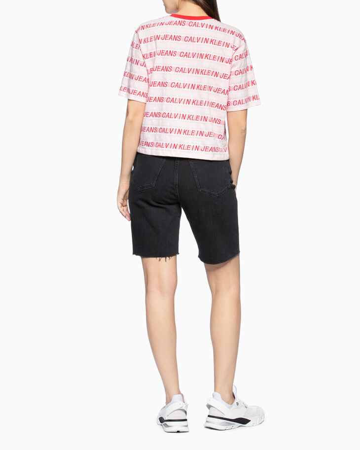 CALVIN KLEIN ALL-OVER LOGO KNIT TEE