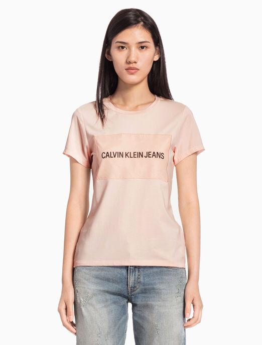 CALVIN KLEIN INSTITUTIONAL ORGANZA LOGO BOX 티셔츠