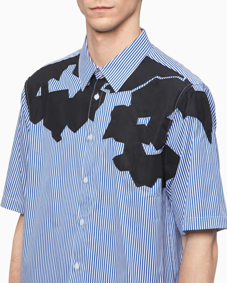 CALVIN KLEIN ABSTRACT PATCH STRIPE SHIRT