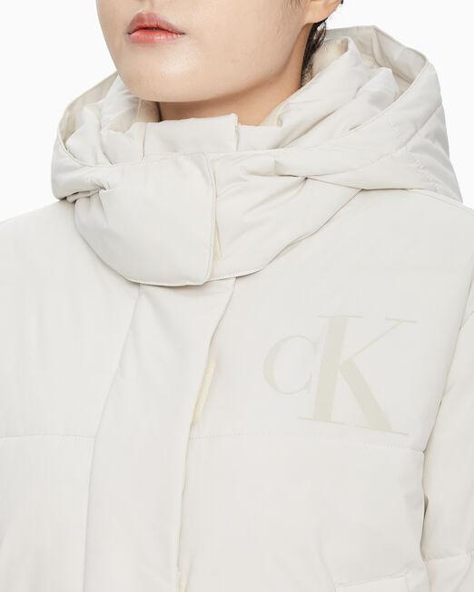 CALVIN KLEIN 여성 크림 푸퍼 패딩 숏 자켓