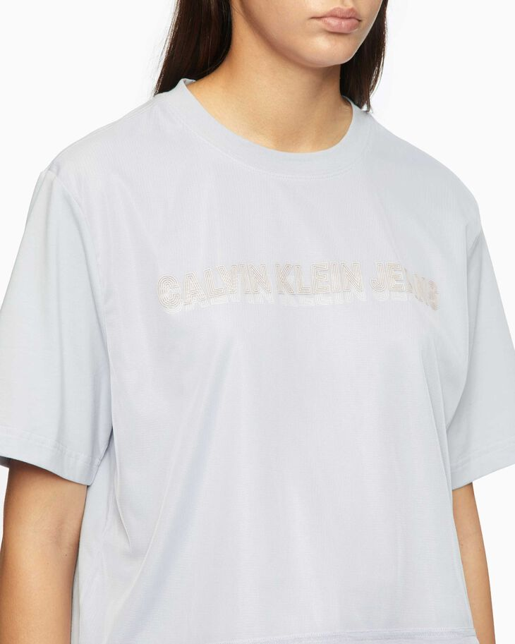 CALVIN KLEIN INSTITUTIONAL DOUBLE LOGO CROPPED TEE