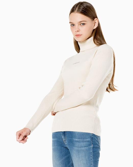 CALVIN KLEIN 여성 마이크로 브랜딩 롤넥 스웨터