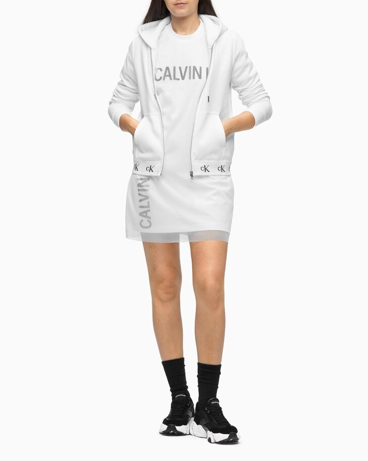 CALVIN KLEIN LOGO TAPE ZIP THROUGH HOODIE
