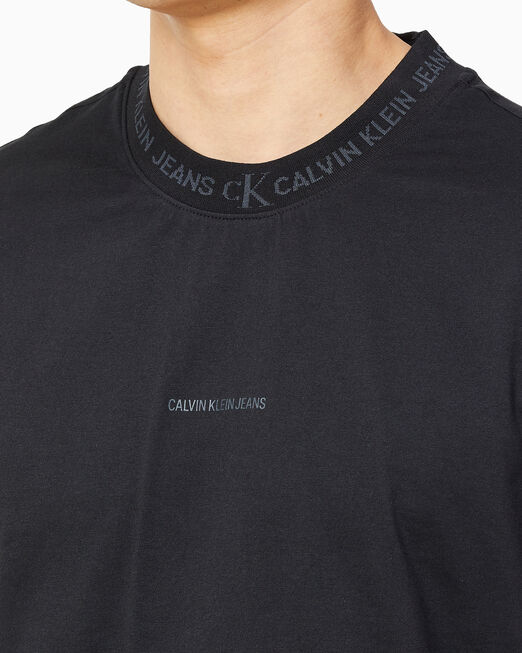 CALVIN KLEIN 남성 로고 자카드 티셔츠