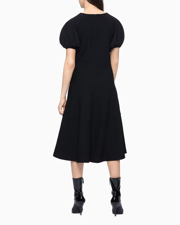 CALVIN KLEIN PUFF SLEEVE FLARED DRESS
