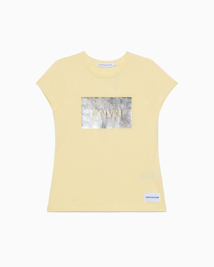CALVIN KLEIN GIRL'S METAL FOIL LOGO T シャツ