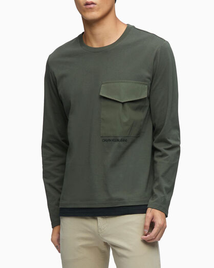 CALVIN KLEIN DOUBLE LAYER HEM LONG SLEEVE TEE
