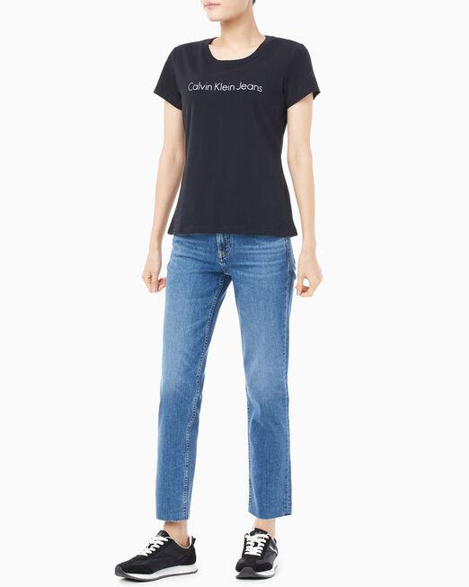 CALVIN KLEIN 여성 메탈릭 인스티튜셔널 로고 슬림핏 반팔 티셔츠