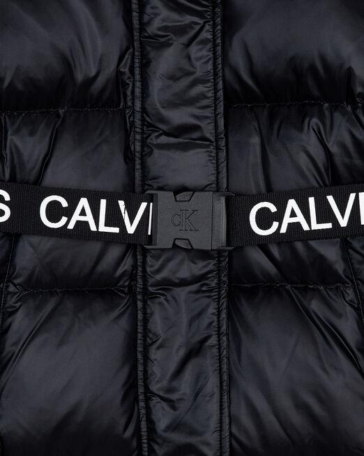 CALVIN KLEIN 여성 로고 웨이스트밴드 롱 푸퍼 재킷