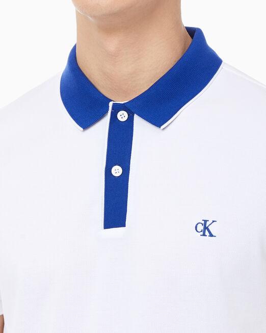 CALVIN KLEIN 남성 슬림핏 피마 스판덱스 폴로 셔츠