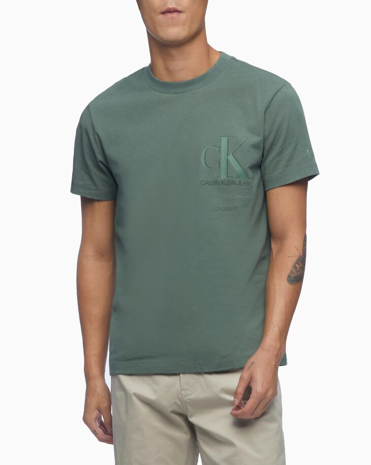 CALVIN KLEIN MATTE AND FLOCK MONOGRAM TEE