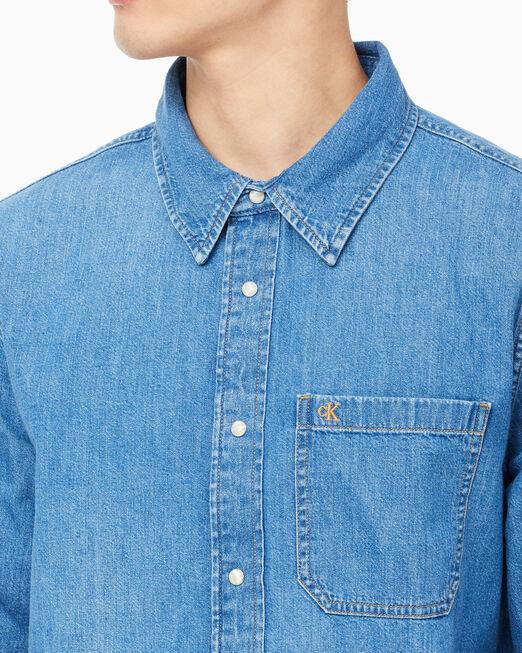 CALVIN KLEIN 남성 원 포켓 데님 셔츠