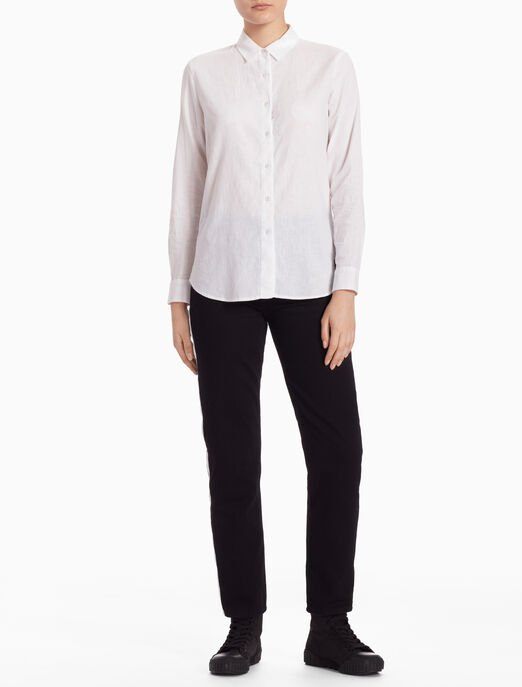 CALVIN KLEIN LINEN LONG-SLEEVE SHIRT