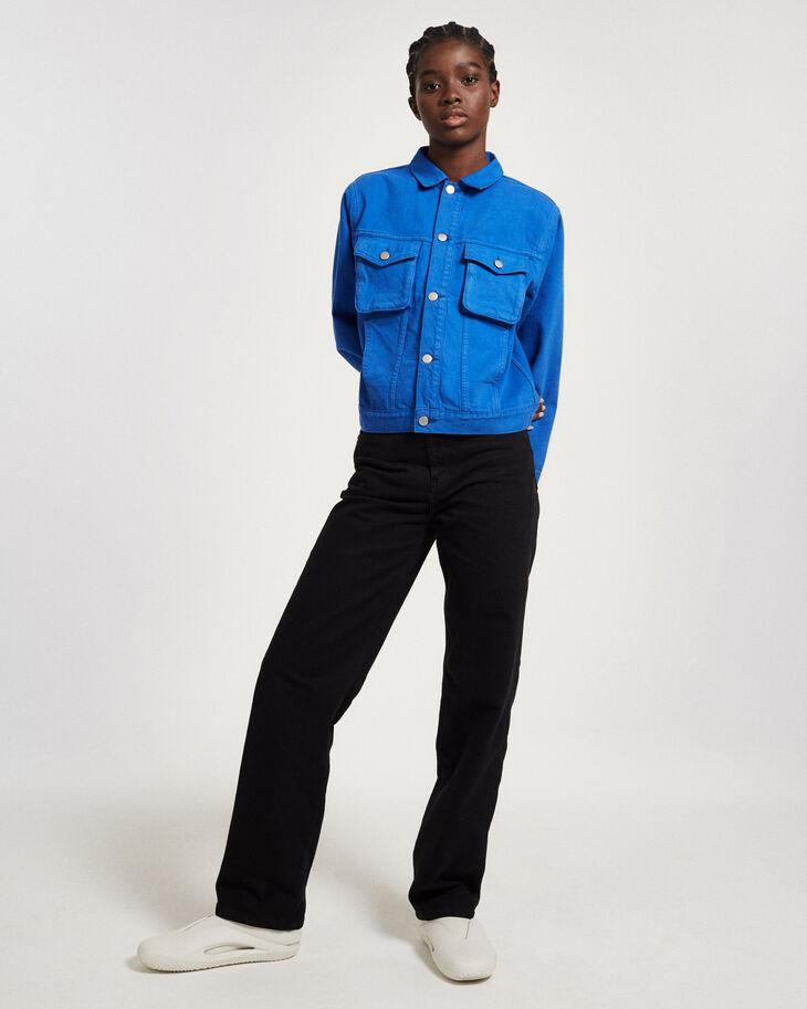 CALVIN KLEIN GARMENT-DYED CANVAS 直筒高腰牛仔褲