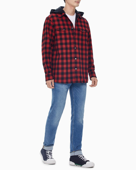 CALVIN KLEIN 남성 레드 체크 오버 셔츠 자켓
