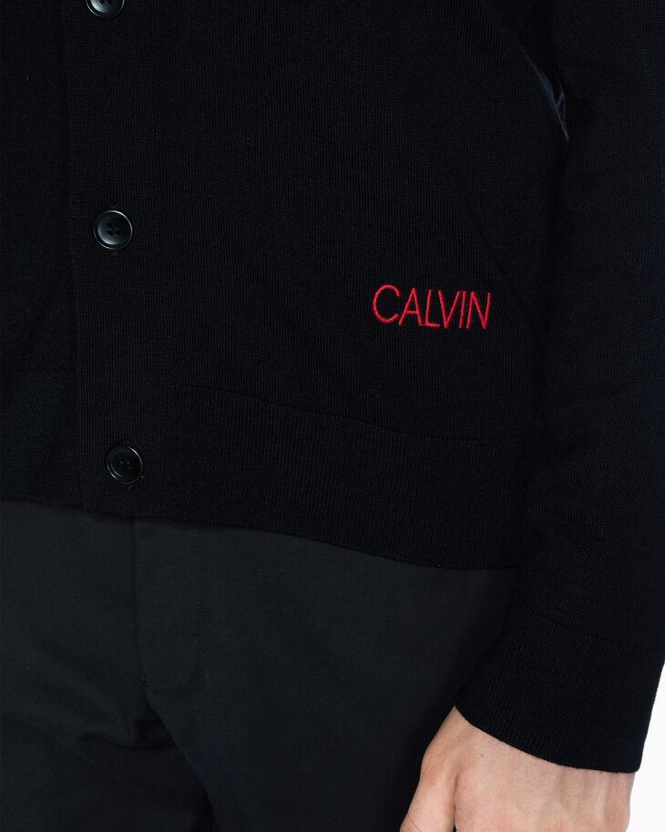 CALVIN KLEIN EMBROIDERED LOGO MERINO CARDIGAN