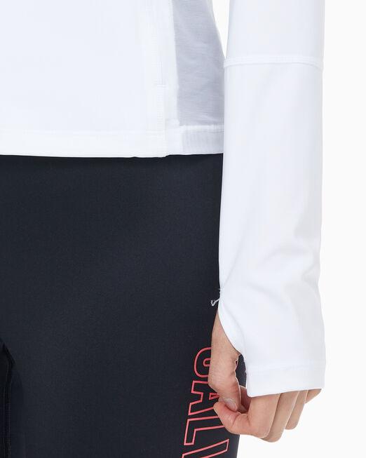 CALVIN KLEIN 여성 스탠드 칼라 메쉬 인서트 니트 자켓