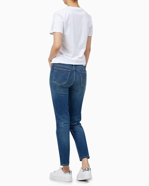 CALVIN KLEIN 여성 모노그램 로고 슬림핏 반팔 티셔츠