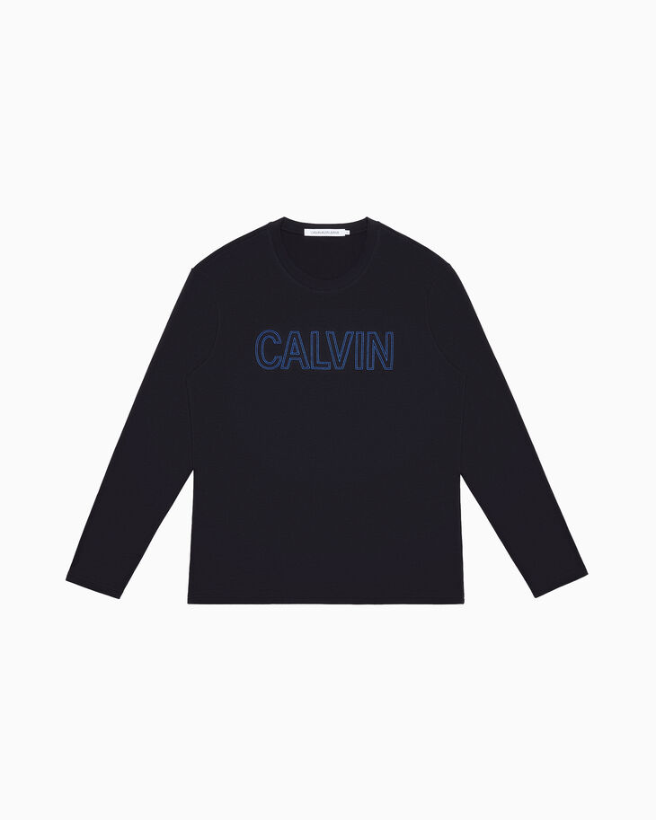 CALVIN KLEIN EMBROIDERED LOGO LONG SLEEVE TEE