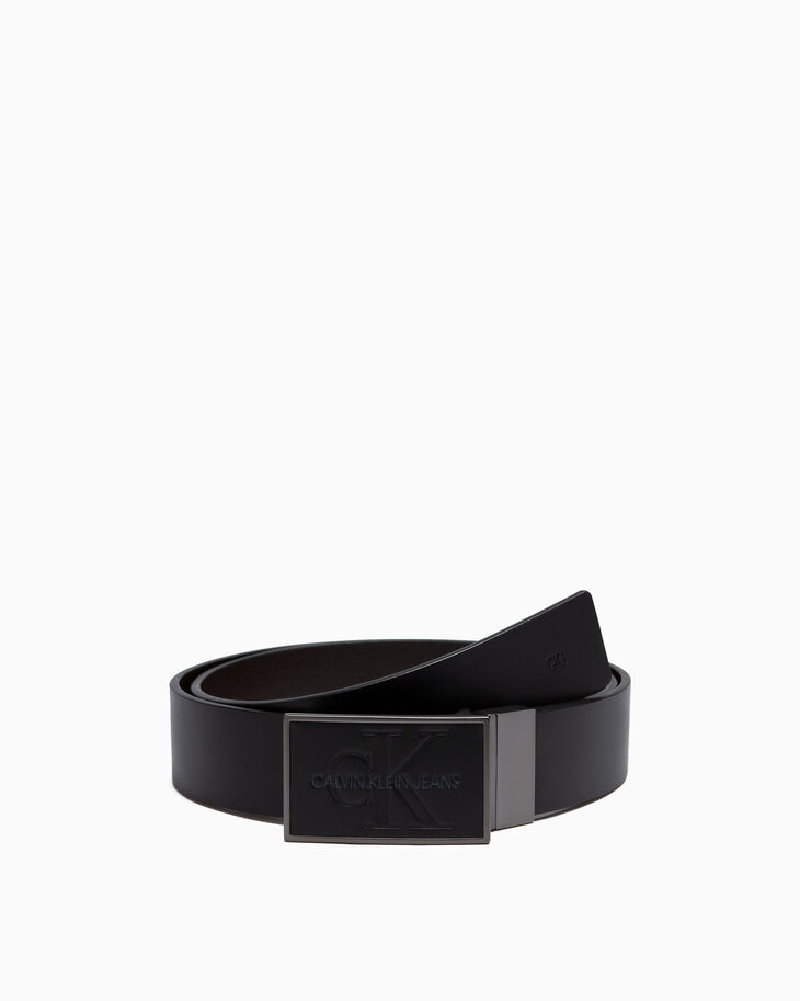 CALVIN KLEIN COLORPLAY 80S LEATHER PLAQUE BELT 35 MM