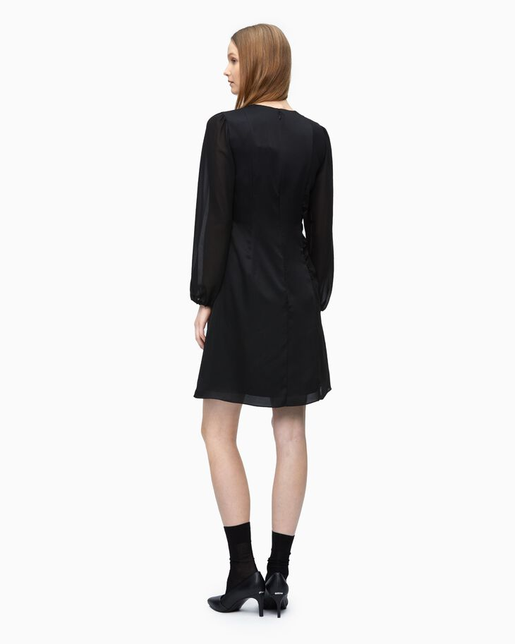 CALVIN KLEIN MIX MEDIA DRESS WITH PUFF SLEEVES