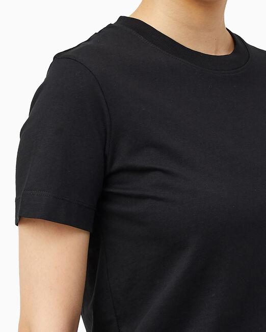 CALVIN KLEIN 여성 모던 스트레이트핏 오프 플레이스드 모노그램 반팔 티셔츠