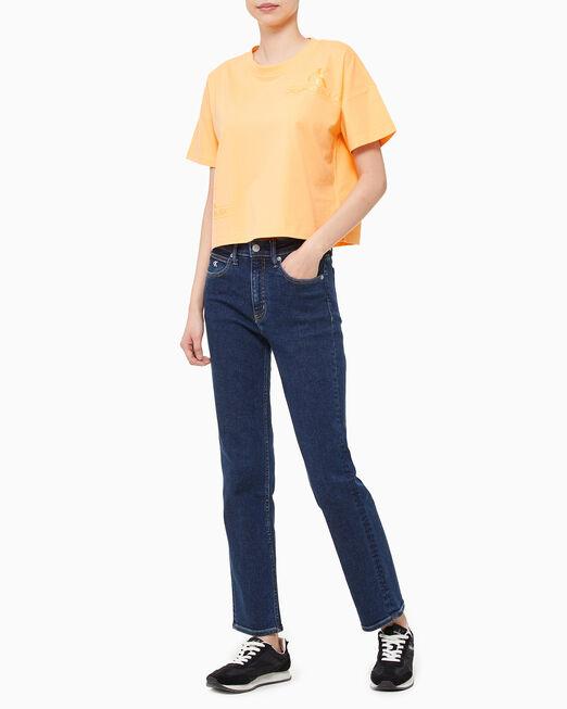 CALVIN KLEIN 여성 오프 플레이스드 티셔츠