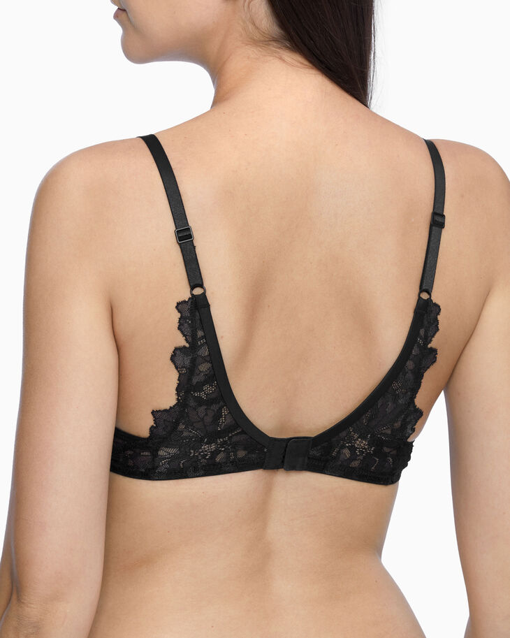 CALVIN KLEIN CK BLACK OVERSIZED TRIM LIGHTLY LINED PLUNGE BRA