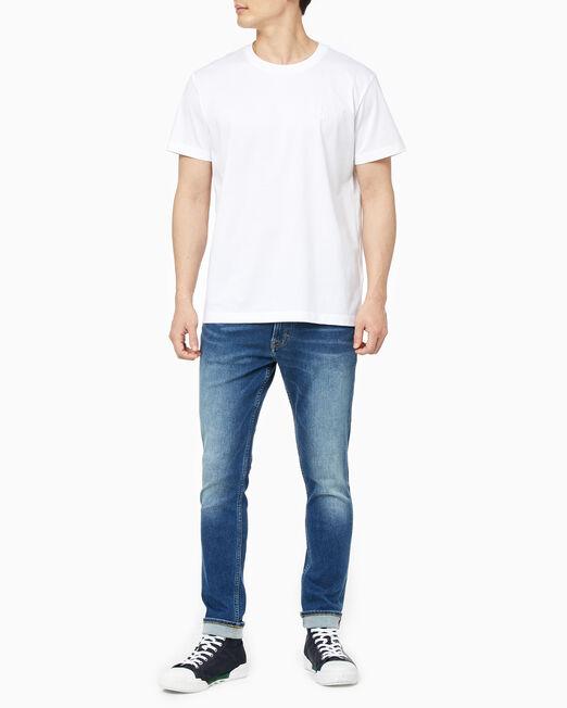 CALVIN KLEIN 남성 슬림핏 머서라이즈 라운드넥 반팔 티셔츠