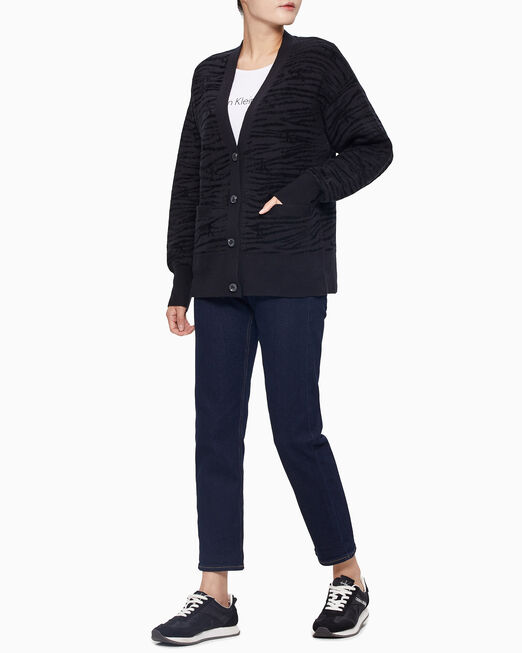 CALVIN KLEIN 여성 블랙 지브라 패턴 가디건