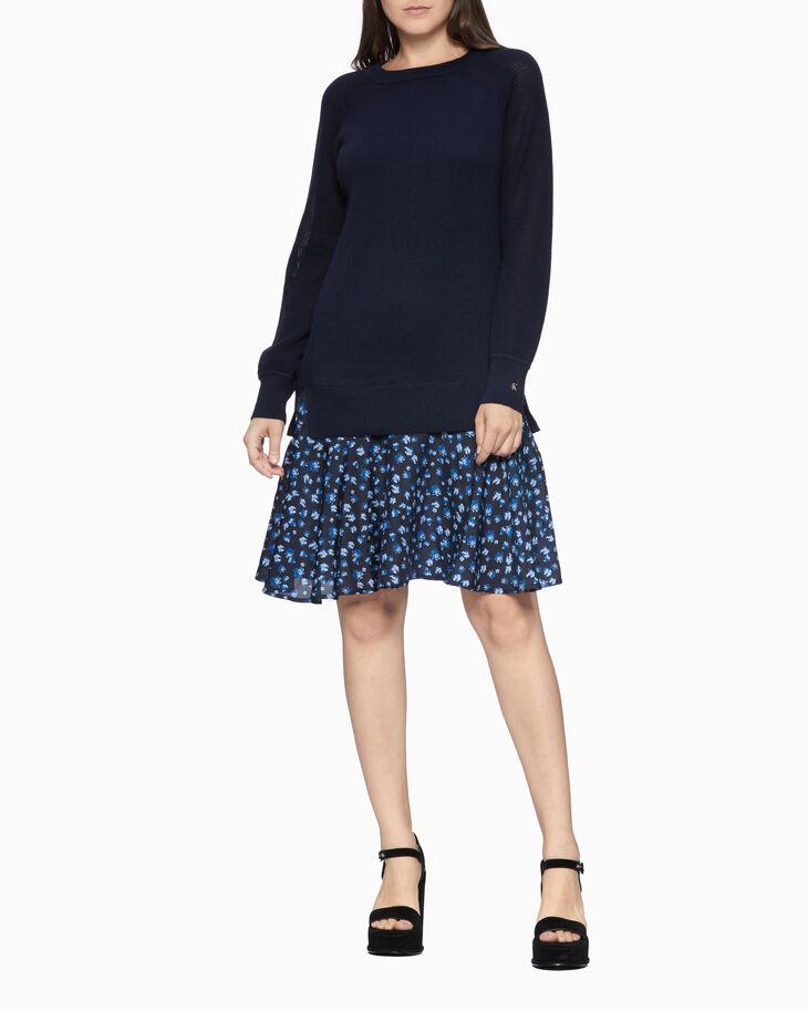 CALVIN KLEIN PERFORATED FLORAL HEM 連身裙