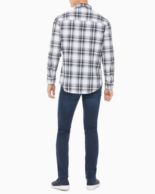 CALVIN KLEIN 남성 슬림핏 체크 셔츠