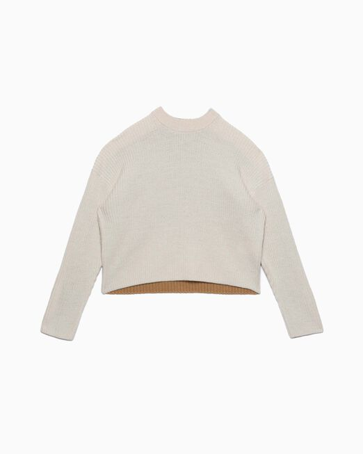 CALVIN KLEIN COLOR BLOCK CROPPED WOOL 풀오버