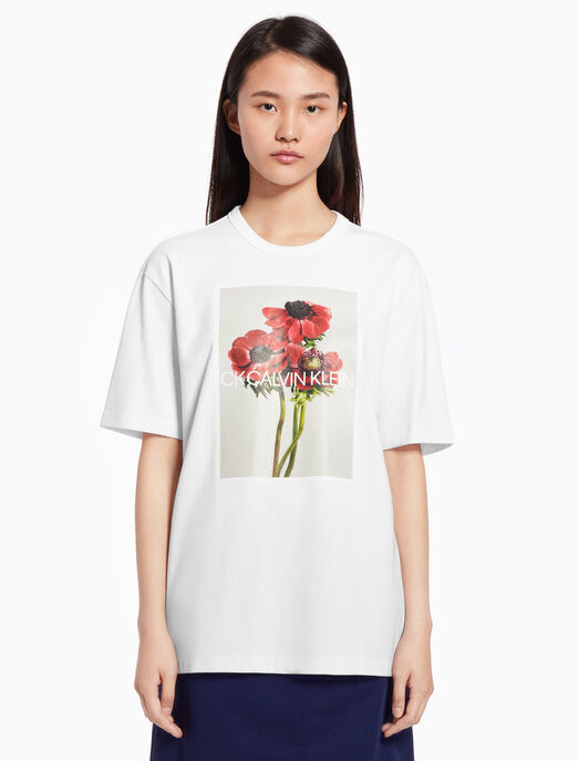 CALVIN KLEIN Flower print top with short sleeves