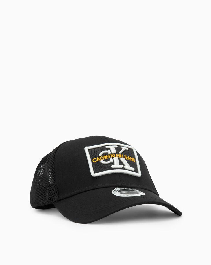 CALVIN KLEIN EMBROIDERED MONOGRAM PATCH TRUCKER CAP