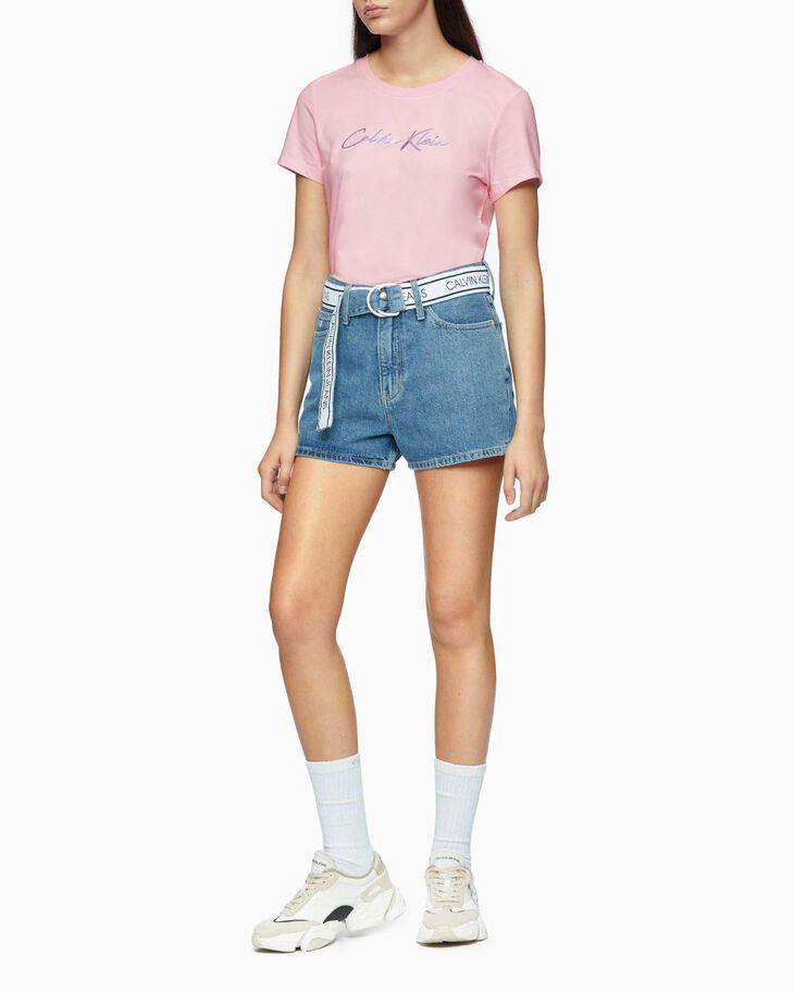 CALVIN KLEIN HIGH RISE DENIM SHORTS WITH LOGO BELT